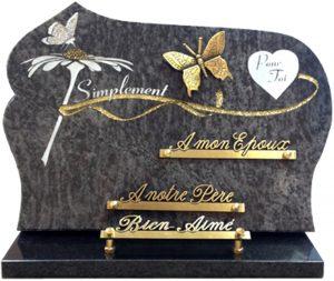 plaque funéraire papillon paillettes or et argent