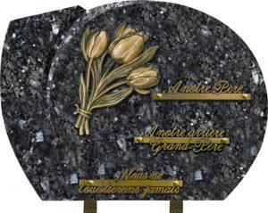 plaque funéraire chanfreinée tulipe