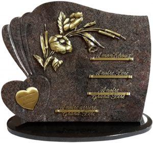 plaque funéraire en forme coeur et fleurs