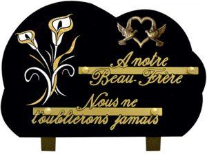 plaque funéraire feuille d'or coeur et colombe