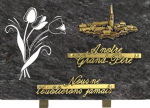 plaque funéraire rectangulaire motif village
