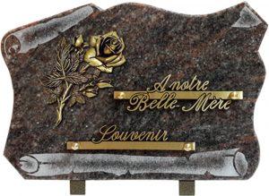 plaque funéraire parchemin motif rose