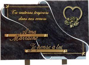 plaque funéraire blanc et feuille d'or coeur fleur