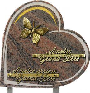 plaque funéraire coeur motif papillon