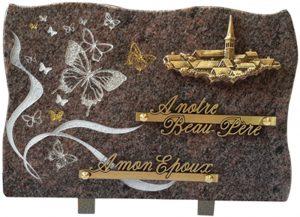 plaque funéraire village paillettes or et argent