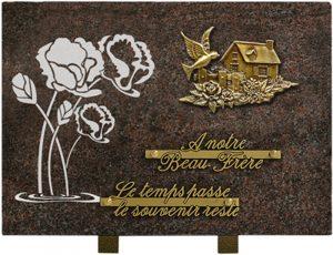plaque funéraire rectangulaire motif maison