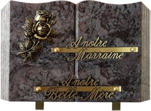 plaque funéraire livre motif rose