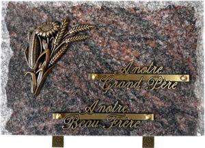plaque funéraire rocaille bouquet champêtre