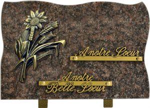 plaque funéraire en forme bouquet champêtre