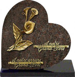 plaque funéraire coeur arums