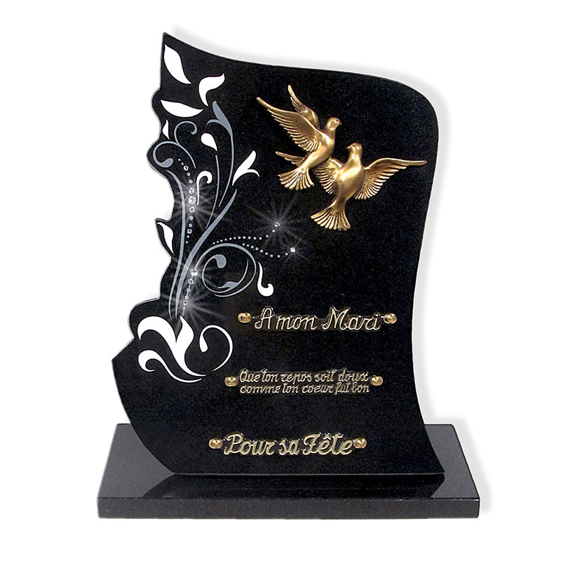 plaque fun raire avec colombes funeris. Black Bedroom Furniture Sets. Home Design Ideas